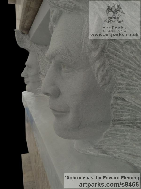 Marble and Travertine Portrait Sculptures / Commission or Bespoke or Customised sculpture by sculptor Edward Fleming titled: 'Aphrodisias' - Artwork View 5