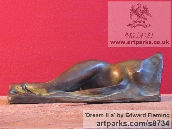 Bronze Sensuous Sexy Erotic (Nude Naked Girls Females Women Ladies) sculpture by sculptor Edward Fleming titled: 'Dream II a (Bronze Waking nude Girl Torso statuette)' - Artwork View 3