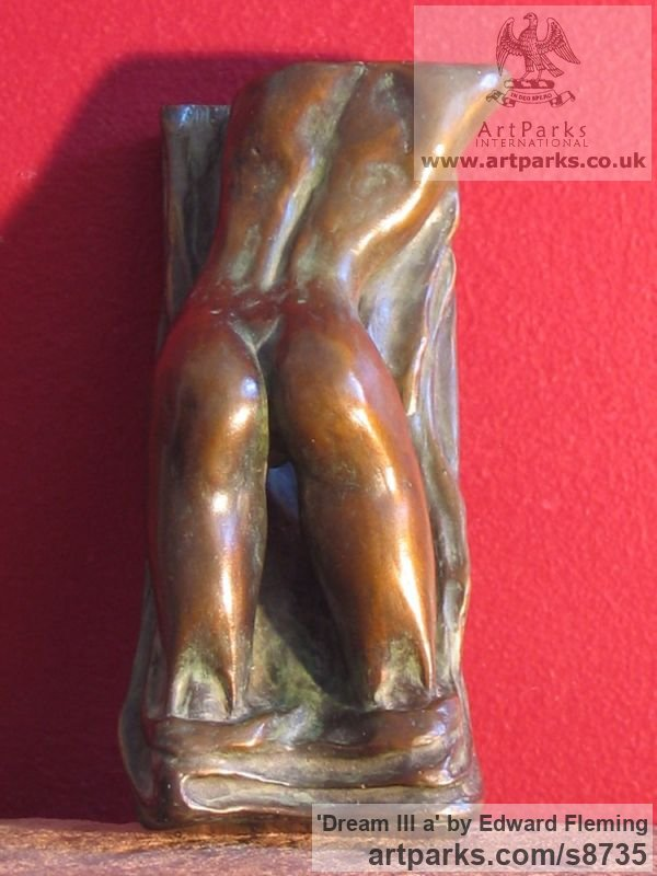 Bronze Unselfconscious Relaxed Nude sculpture by sculptor Edward Fleming titled: 'Dream III a (Miniature Bronze Girl`s Bottom statuette)'