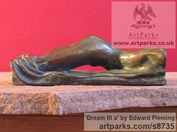 Bronze Unselfconscious Relaxed Nude sculpture by sculptor Edward Fleming titled: 'Dream III a (Miniature Bronze Girl`s Bottom statuette)' - Artwork View 2