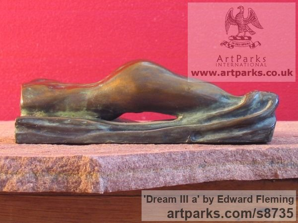 Bronze Unselfconscious Relaxed Nude sculpture by sculptor Edward Fleming titled: 'Dream III a (Miniature Bronze Girl`s Bottom statuette)' - Artwork View 3