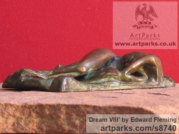 Bronze Contented Happy Relaxed Sculpture or sculpture by sculptor Edward Fleming titled: 'Dream VIII (Bronze Naked Lover Maquette statuette)'