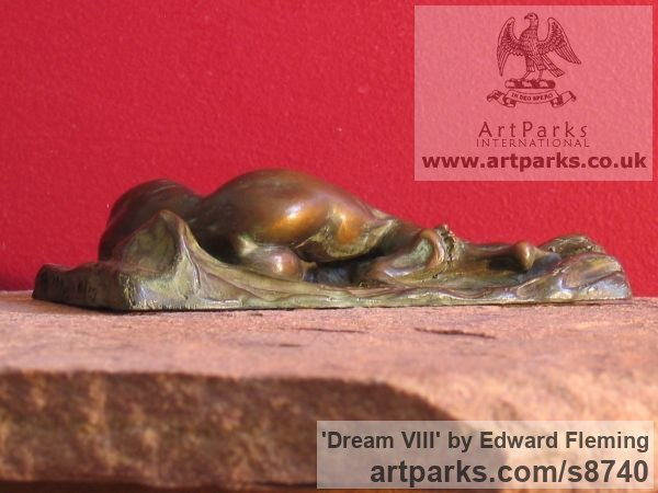 Bronze Contented Happy Relaxed Sculpture or sculpture by sculptor Edward Fleming titled: 'Dream VIII (bronze Naked Lover Maquette statuette)' - Artwork View 3