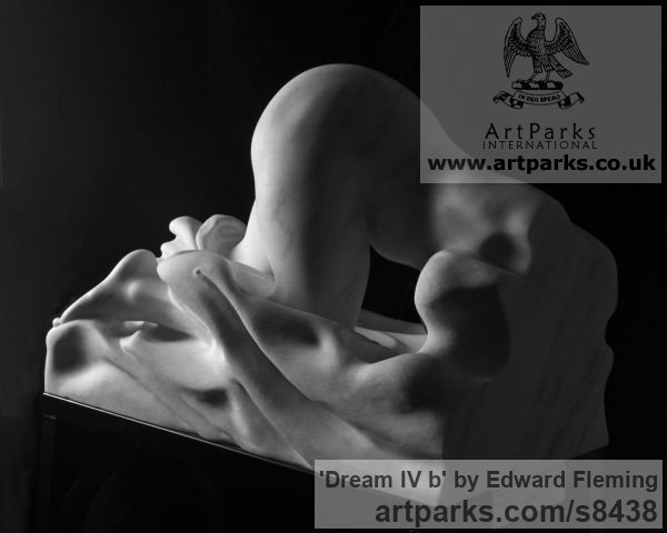 Marble Unselfconscious Relaxed Nude sculpture by sculptor Edward Fleming titled: 'Dream IV b (Awakening Aroused nude Dream marble statue)'