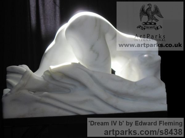 Marble Unselfconscious Relaxed Nude sculpture by sculptor Edward Fleming titled: 'Dream IV b (Awakening Aroused nude Dream marble statue)' - Artwork View 2