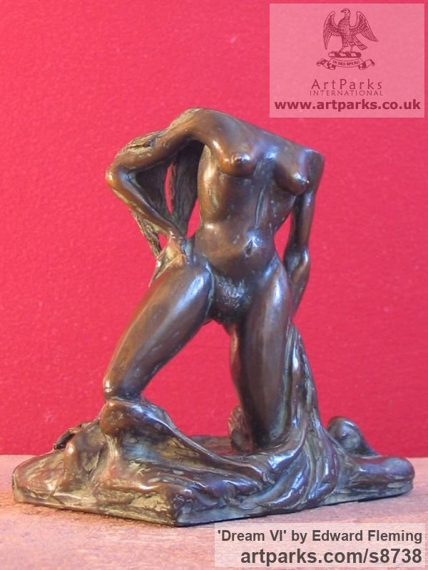 Bronze Sensuous Sexy Erotic (Nude Naked Girls Females Women Ladies) sculpture by sculptor Edward Fleming titled: 'Dream VI (Bronze Little nude Rampant Lover sculpture)'