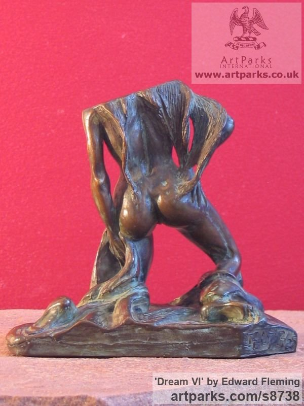 Bronze Sensuous Sexy Erotic (Nude Naked Girls Females Women Ladies) sculpture by sculptor Edward Fleming titled: 'Dream VI (Bronze Little nude Rampant Lover sculpture)' - Artwork View 3