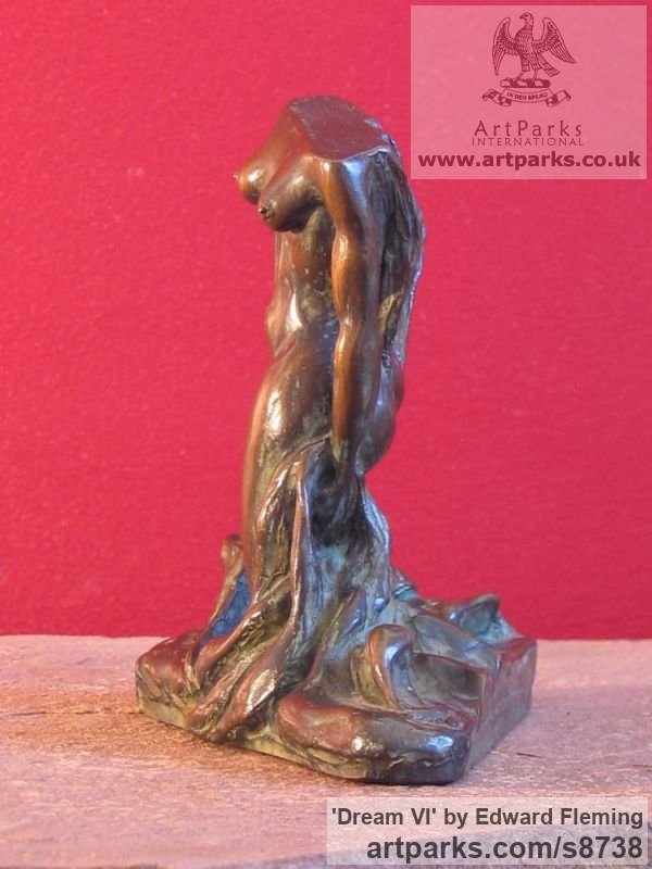 Bronze Sensuous Sexy Erotic (Nude Naked Girls Females Women Ladies) sculpture by sculptor Edward Fleming titled: 'Dream VI (Bronze Little nude Rampant Lover sculpture)' - Artwork View 4