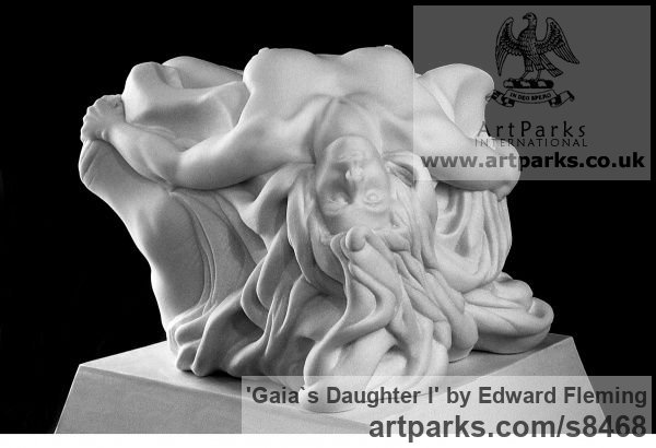 Marble Calm Love and Affection Sculptures or sculpture by sculptor Edward Fleming titled: 'Gaia`s Daughter (Carved marble Naked Girl sculpture)'