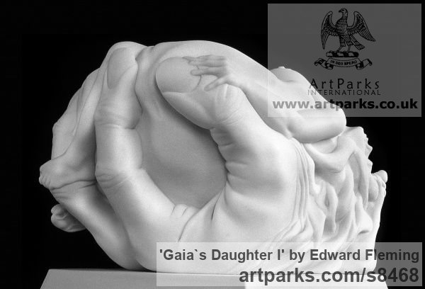 Marble Calm Love and Affection Sculptures or sculpture by sculptor Edward Fleming titled: 'Gaia`s Daughter (Carved marble Naked Girl sculpture)' - Artwork View 2