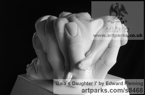 Marble Calm Love and Affection Sculptures or sculpture by sculptor Edward Fleming titled: 'Gaia`s Daughter (Carved marble Naked Girl sculpture)' - Artwork View 3