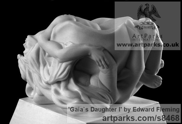 Marble Calm Love and Affection Sculptures or sculpture by sculptor Edward Fleming titled: 'Gaia`s Daughter (Carved marble Naked Girl sculpture)' - Artwork View 5