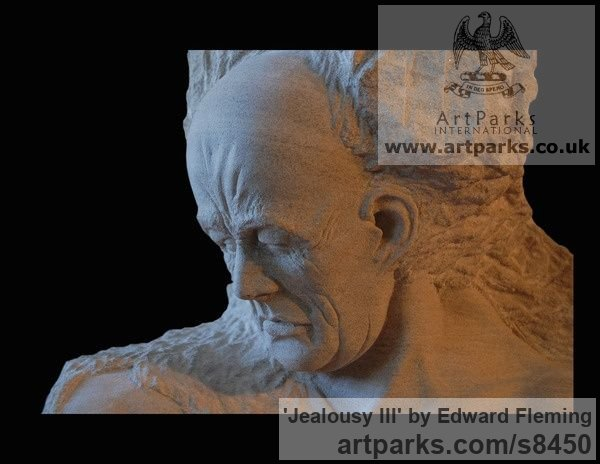 Limestone Male Men Youths Masculine sculpturettes figurines sculpture by sculptor Edward Fleming titled: 'Jealousy (life size Man`s Bust stone carved statues)' - Artwork View 3