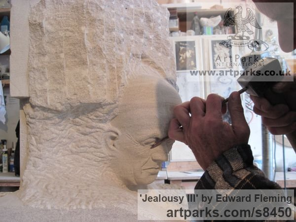 Limestone Male Men Youths Masculine sculpturettes figurines sculpture by sculptor Edward Fleming titled: 'Jealousy (life size Man`s Bust stone carved statues)' - Artwork View 5