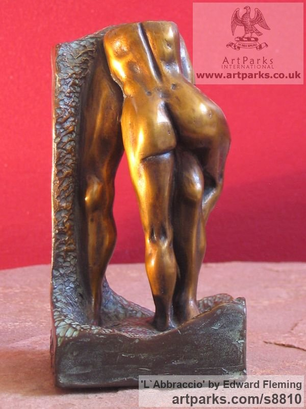 Bronze Sensuous Sexy Erotic (Nude Naked Girls Females Women Ladies) sculpture by sculptor Edward Fleming titled: 'l`Abbraccio (Bronze maquette)'