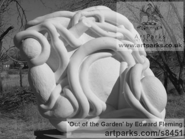 Marble Carved Abstract Contemporary Modern sculpture carving sculpture by sculptor Edward Fleming titled: 'Out of the garden (Carved stone Yard statue)' - Artwork View 4
