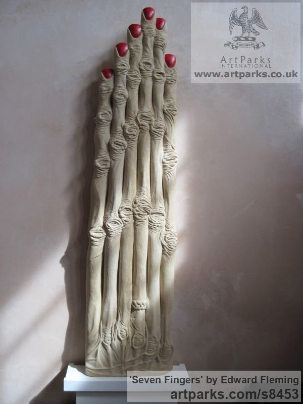 Limestone Fantasy sculpture or sculpture by sculptor Edward Fleming titled: 'Seven Fingers (Extended abstract Woman`s Hand Carving)'