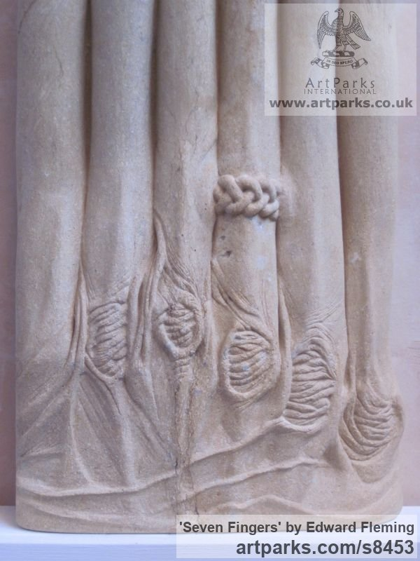 Limestone Fantasy sculpture or sculpture by sculptor Edward Fleming titled: 'Seven Fingers (Extended abstract Woman`s Hand Carving)' - Artwork View 3