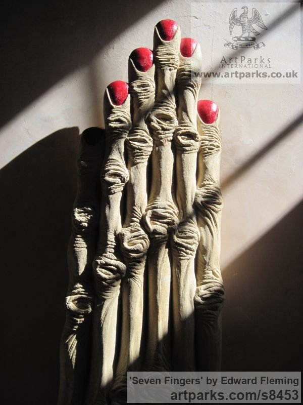 Limestone Fantasy sculpture or sculpture by sculptor Edward Fleming titled: 'Seven Fingers (Extended abstract Woman`s Hand Carving)' - Artwork View 5