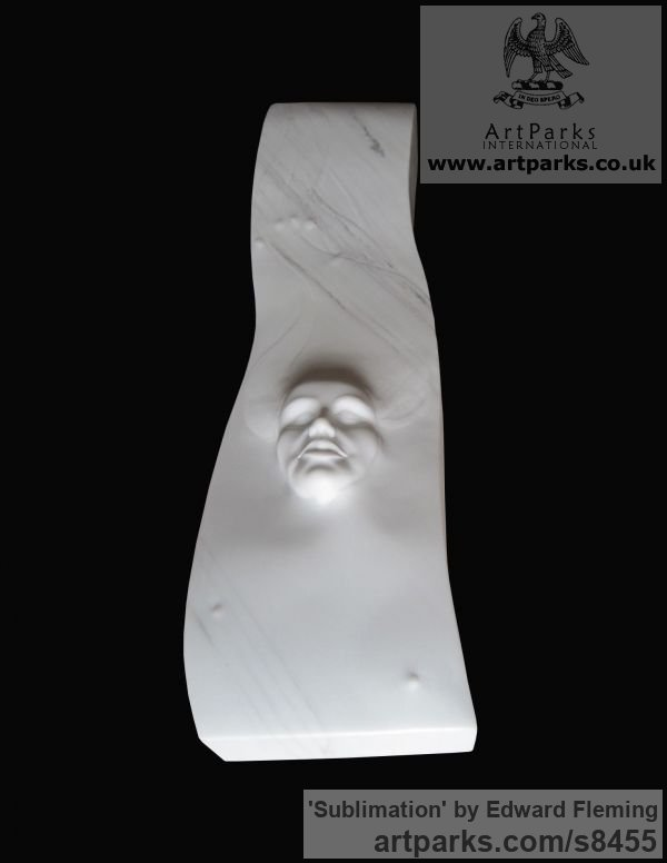 Marble Emerging Form or Face or Feature sculpture statuette for sale sculpture by sculptor Edward Fleming titled: 'Sublimation (Small Emerging Carved Face sculptures)' - Artwork View 3