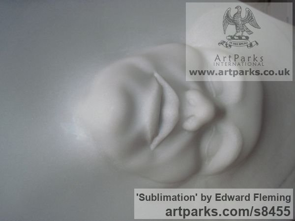 Marble Emerging Form or Face or Feature sculpture statuette for sale sculpture by sculptor Edward Fleming titled: 'Sublimation (Small Emerging Carved Face sculptures)' - Artwork View 4