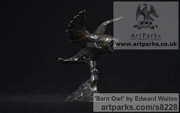 Bronze Varietal Mix of Bird Sculptures or sculpture by sculptor Edward Waites titled: 'Barn Owl (Small Barn Owl Flying on the Wing sculpture)'