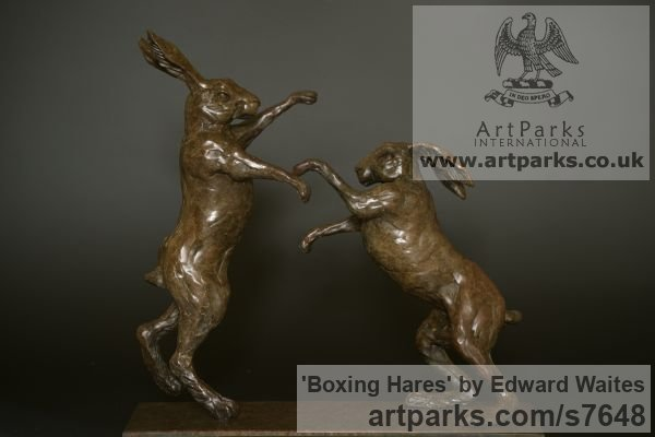 Bronze & Oak Field Sports, Game Birds and Game Animals sculpture by sculptor Edward Waites titled: 'Boxing Hares (Little Small Bronze Mad March statuette sculpture)' - Artwork View 1
