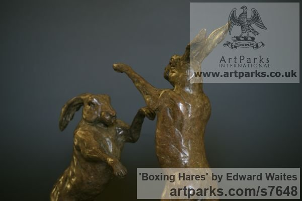 Bronze & Oak Field Sports, Game Birds and Game Animals sculpture by sculptor Edward Waites titled: 'Boxing Hares (Little Small Bronze Mad March statuette sculpture)' - Artwork View 2