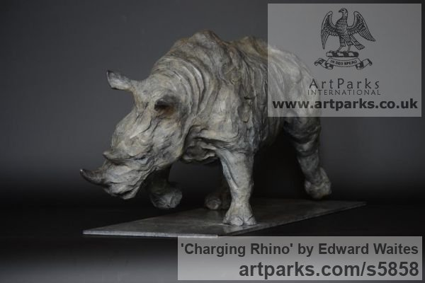 Bronze Wild Animals and Wild Life sculpture by sculptor Edward Waites titled: 'Charging Rhino (Small bronze African Animal Indoor Inside sculpture)' - Artwork View 2