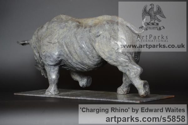 Bronze Wild Animals and Wild Life sculpture by sculptor Edward Waites titled: 'Charging Rhino (Small bronze African Animal Indoor Inside sculpture)' - Artwork View 3