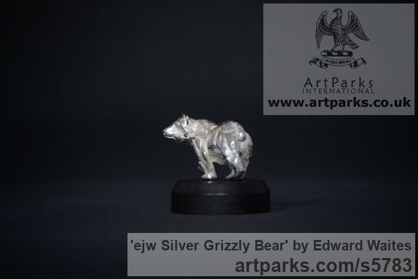 Silver Wild Animals and Wild Life sculpture by sculptor Edward Waites titled: 'ejw Silver Grizzly Bear (Miniature Little Walking sculpturette Art)'