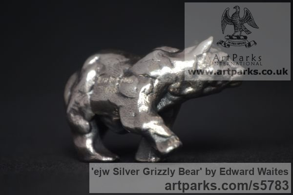 Silver Wild Animals and Wild Life sculpture by sculptor Edward Waites titled: 'ejw Silver Grizzly Bear (Miniature Little Walking sculpturette Art)' - Artwork View 2