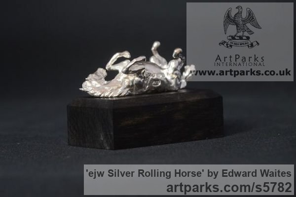 Silver Horse Sculpture / Equines Race Horses Pack HorseCart Horses Plough Horsess sculpture by sculptor Edward Waites titled: 'ejw Silver Rolling Horse (Tabletop Silver Equine Miniature)'
