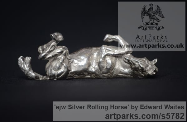 Silver Horse Sculpture / Equines Race Horses Pack HorseCart Horses Plough Horsess sculpture by sculptor Edward Waites titled: 'ejw Silver Rolling Horse (Tabletop Silver Equine Miniature)' - Artwork View 2