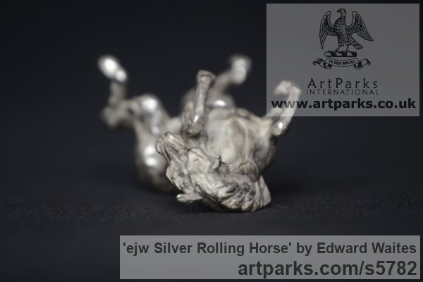 Silver Horse Sculpture / Equines Race Horses Pack HorseCart Horses Plough Horsess sculpture by sculptor Edward Waites titled: 'ejw Silver Rolling Horse (Tabletop Silver Equine Miniature)' - Artwork View 3