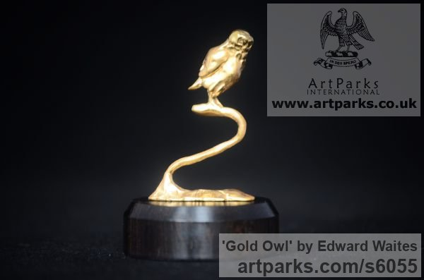 Gold Varietal Mix of Bird Sculptures or sculpture by sculptor Edward Waites titled: 'Gold Owl (Hall Marked Miniature Little Raptor on Branch statuette)'