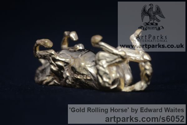 Gold Horse Sculpture / Equines Race Horses Pack HorseCart Horses Plough Horsess sculpture by sculptor Edward Waites titled: 'Gold Rolling Horse (Miniature Little Gold statuette ornament statue)'
