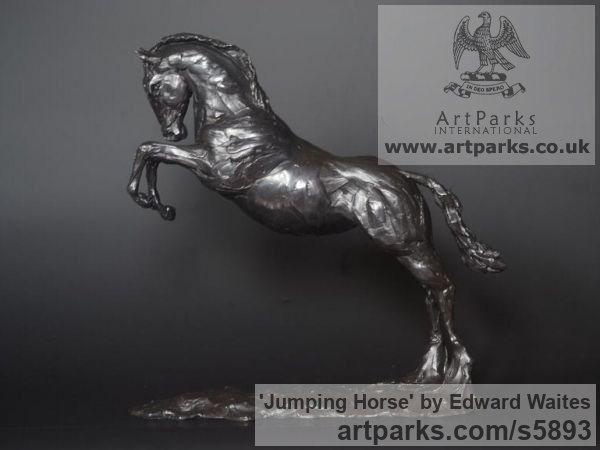 Bronze Horse Sculpture / Equines Race Horses Pack HorseCart Horses Plough Horsess sculpture by sculptor Edward Waites titled: 'Jumping Horse (Little Small bronze Leaping Jumper sculpturette)'