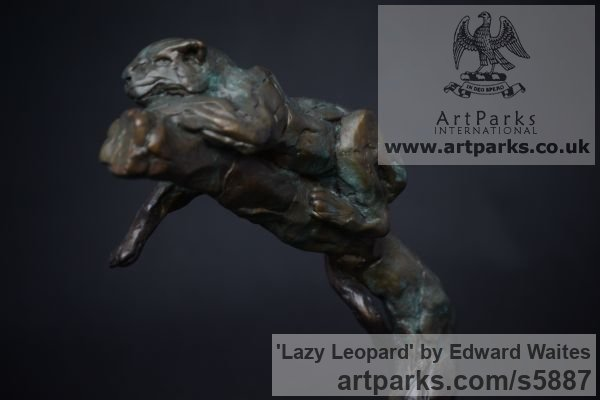 Bronze Cats sculpture by sculptor Edward Waites titled: 'Lazy Leopard (Lying Drowzing Sleeping Resting on Branch statuette statue)' - Artwork View 2