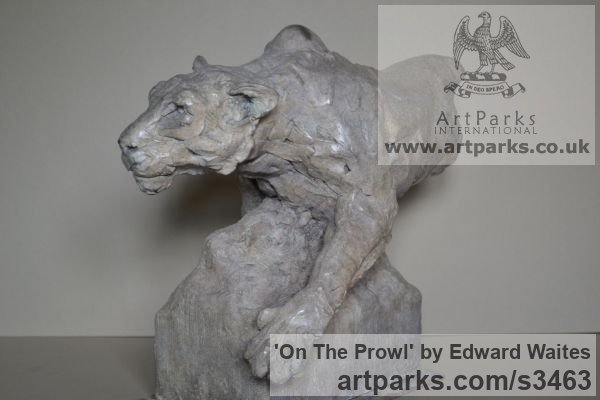Bronze Cats Wild and Big Cats sculpture by sculptor Edward Waites titled: 'On The Prowl (Little Small Lioness Bronze Hunting Pursuing statuette)'
