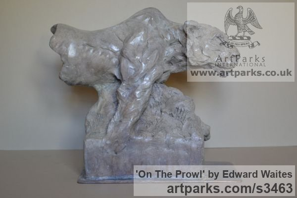 Bronze Cats Wild and Big Cats sculpture by sculptor Edward Waites titled: 'On The Prowl (Little Small Lioness Bronze Hunting Pursuing statuette)' - Artwork View 2