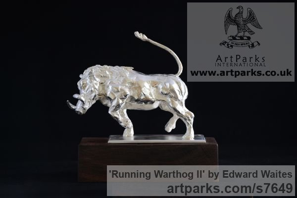 Sterling Silver Wild Animals and Wild Life sculpture by sculptor Edward Waites titled: 'Running Warthog (Silver Small Charging Boar statues)'