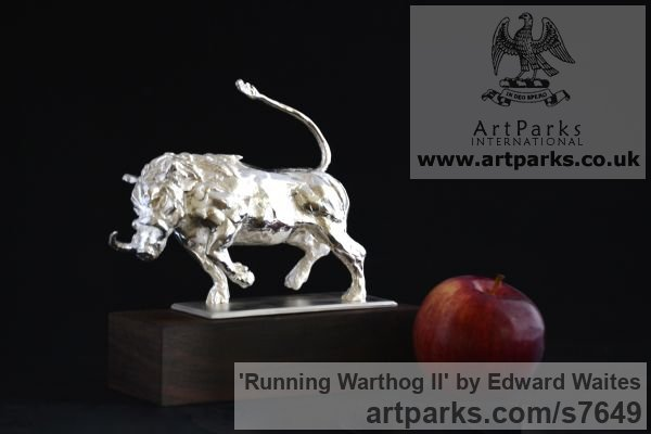 Sterling Silver Wild Animals and Wild Life sculpture by sculptor Edward Waites titled: 'Running Warthog (Silver Small Charging Boar statues)' - Artwork View 3