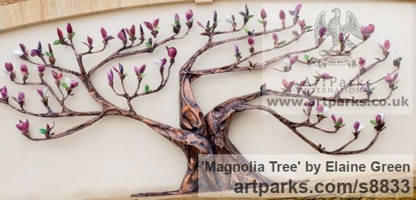 Copper and enamel Garden Or Yard / Outside and Outdoor sculpture by sculptor Elaine Green titled: 'Magnolia Tree (Big Flowering Shrub garden sculptures)'