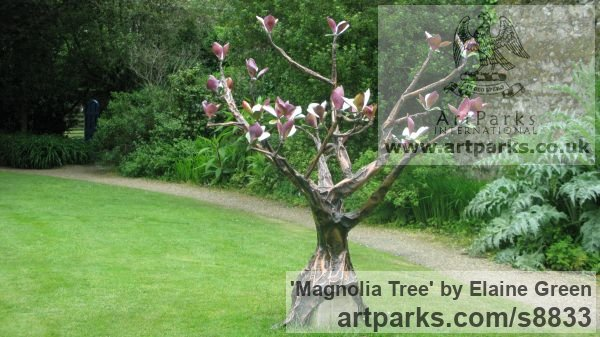 Copper and enamel Garden Or Yard / Outside and Outdoor sculpture by sculptor Elaine Green titled: 'Magnolia Tree (Big Flowering Shrub garden sculptures)' - Artwork View 2