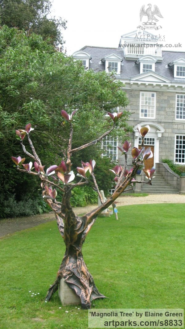 Copper and enamel Garden Or Yard / Outside and Outdoor sculpture by sculptor Elaine Green titled: 'Magnolia Tree (Big Flowering Shrub garden sculptures)' - Artwork View 4