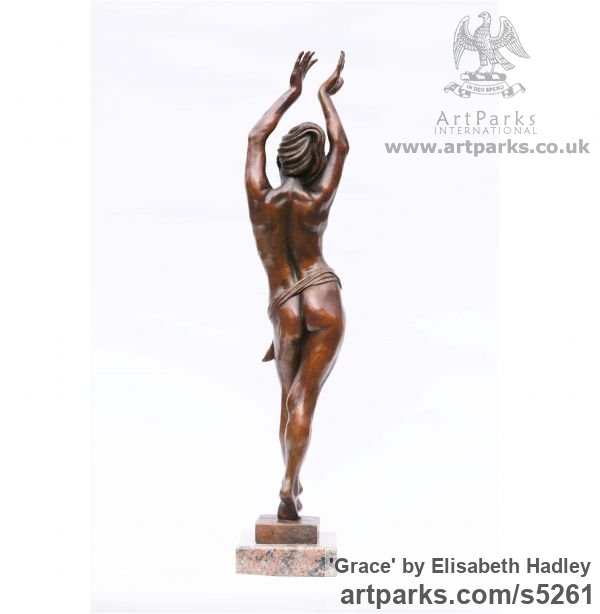 Bronze Females Women Girls Ladies sculpture statuettes figurines sculpture by sculptor Elisabeth Hadley titled: 'Grace (Sinuous Sexy nude Dancing Girl statues)' - Artwork View 2
