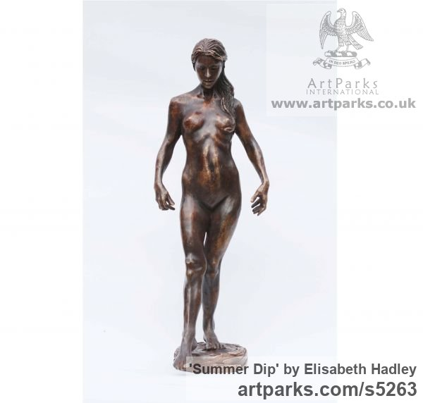 Bronze Females Women Girls Ladies sculpture statuettes figurines sculpture by sculptor Elisabeth Hadley titled: 'Summer Dip (Lovely Naked Woman Bronze sculpture)'