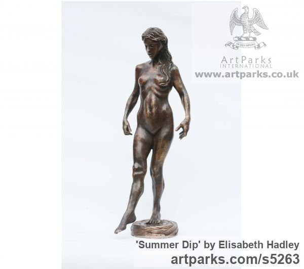 Bronze Females Women Girls Ladies sculpture statuettes figurines sculpture by sculptor Elisabeth Hadley titled: 'Summer Dip (Lovely Naked Woman Bronze sculpture)' - Artwork View 2