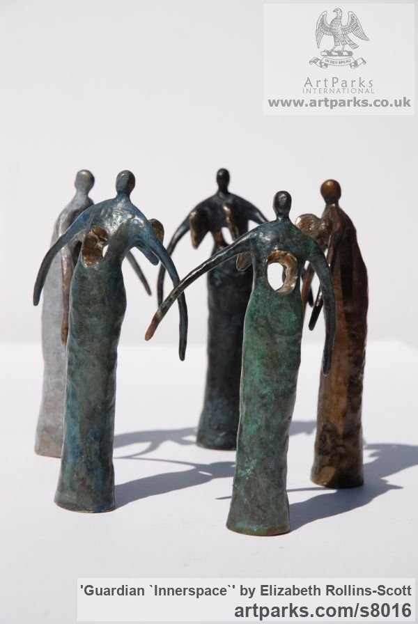 Foundry cast bronze Peace Sculptures or Statues or statuettes sculpture by sculptor Elizabeth Rollins-Scott titled: 'Guardian `Innerspace` (abstract Angel statue)' - Artwork View 2